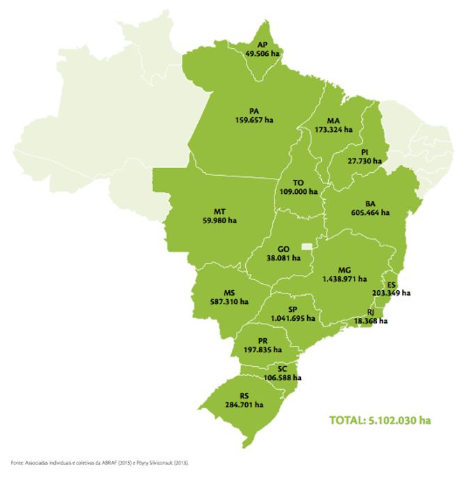 Área e distribuição de plantios florestais com Eucalipto nos estados do Brasil, 2012